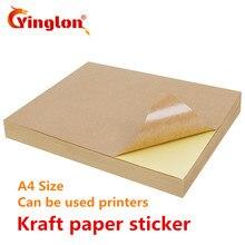 Il trasporto libero 50 pz/lotto A4 Marrone kraft adesivi di carta di auto adesivo scrittura a mano a getto dinchiostro stampante laser bianco A4 adesivi stampa