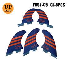 Плавники для серфинга fcs2 tri quad quilhas g5 + gl синего/оранжевого