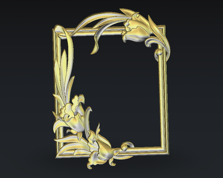Frame 3D Model In STL Format  Cnc Carving Engraving Router Relief Artcam Aspire F23