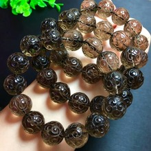Genuine Natural Brown Quartz Smoky Crystal Quartz Round Craved Beads Healing Stone Woman Man Bracelet 16mm Drop Shipping AAAAA hutang novelty natural color smoky quartz