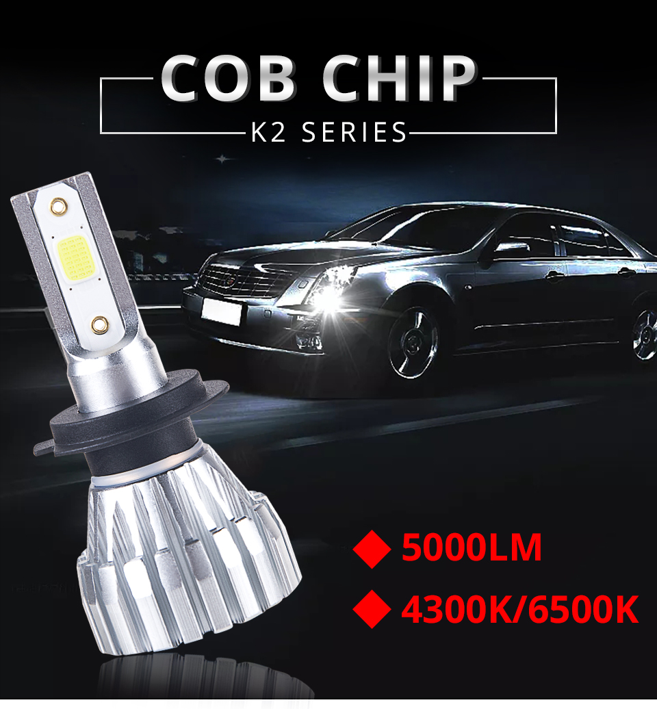 Foxcncar New 2PCS H7 4300K LED H4 6500K Car Fanless Headlight COB 5000LM 50W 12V 24V 1 year warranty H1 H11 H8 9005 9006 HB3 HB4 (1)