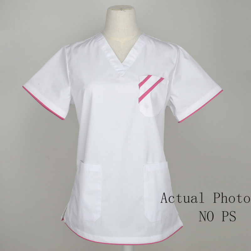 Women's Fashion Scrubs Tops Mock Wrap