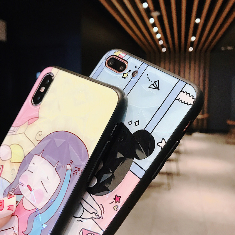 Funny Cartoon Girl Cases Soft TPU Cover For coque iPhone 7 7Plus 8 6 Plus X XS MAX XR Japan Korea Kawaii Phone Case Fundas Capa in Fitted Cases from Cellphones Telecommunications