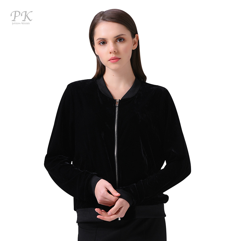 PK black burgundy velvet basic coats 2018 transparent denim bomber jacket women set puck rave streetwear casual baseball veste