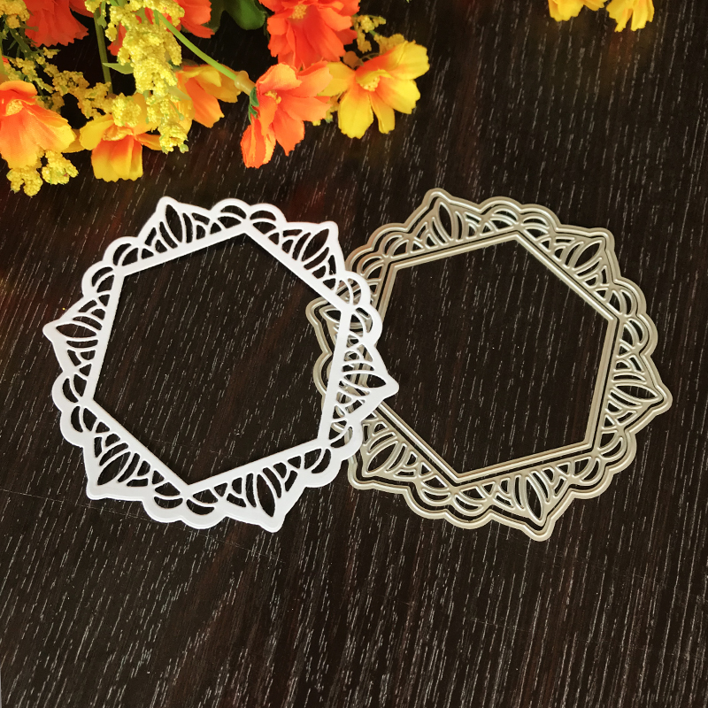 Wedding Pentagon Lace Flower Metal Cutting Dies for DIY Scrapbooking Album Embossing Folder Paper Cards Decor Stencils Crafts in Cutting Dies from Home Garden