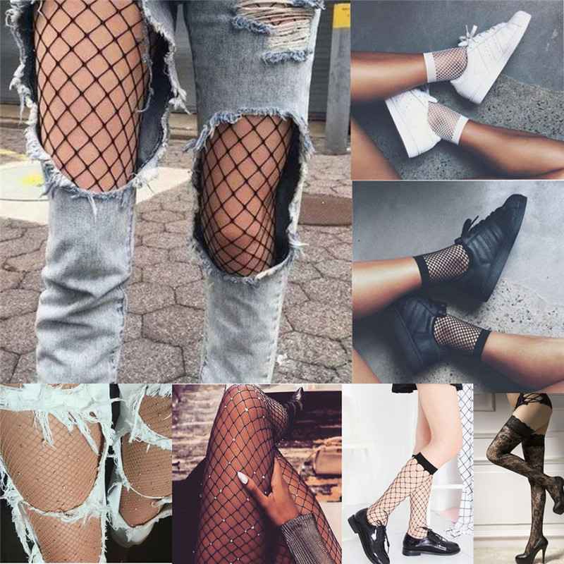 Hollow Out Sexy Pantyhose Black Women Tights Stocking Fishnet Stockings Club Party Hosiery Calcetines Female Mesh W3