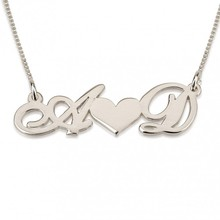 925 Solid Silver Personalized 2 Initial Necklace Heart Name Necklace Custom Letter BFF Pendent Couple Jewelry