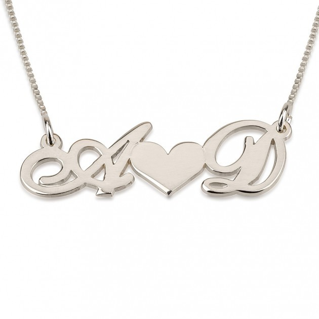 925 Solid Silver Personalized 2 Initial font b Necklace b font Heart Name font b Necklace