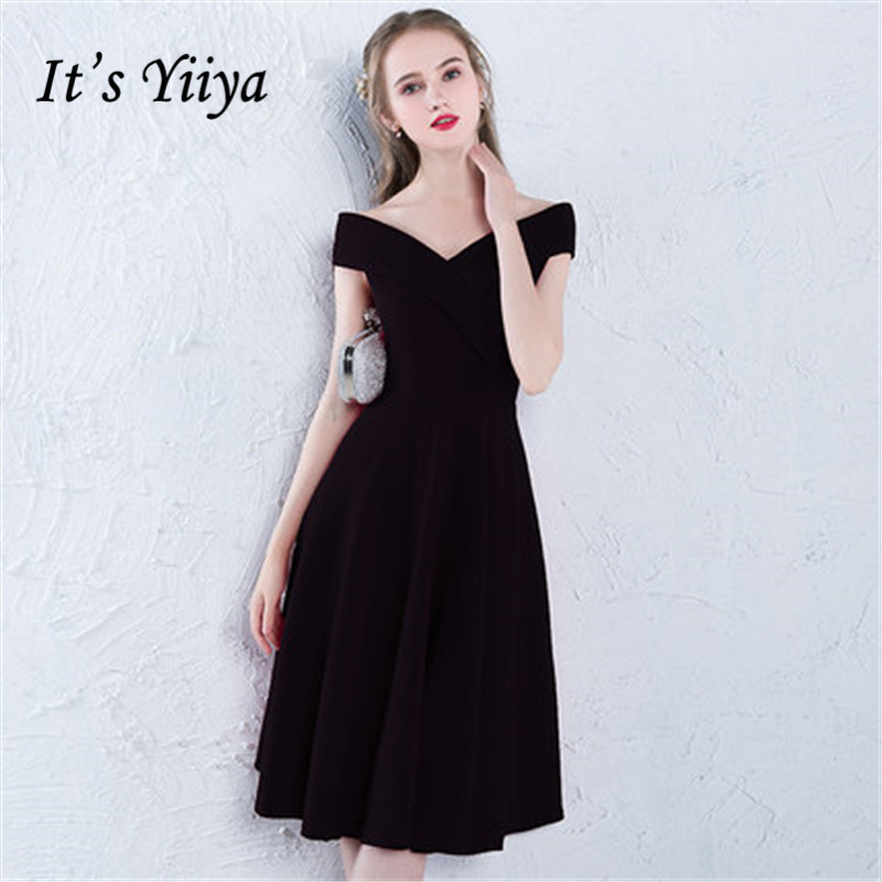 It's Yiiya Black Boat Neck Luxury Elegant Slim   Evening     Dresses   Famous Designer Party Formal   Dress   LX379