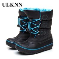 ULKNN Waterproof Snow Boots Kids Warm Rubber Shoes For Girls Boys Winter Boots Fur Plush Inside