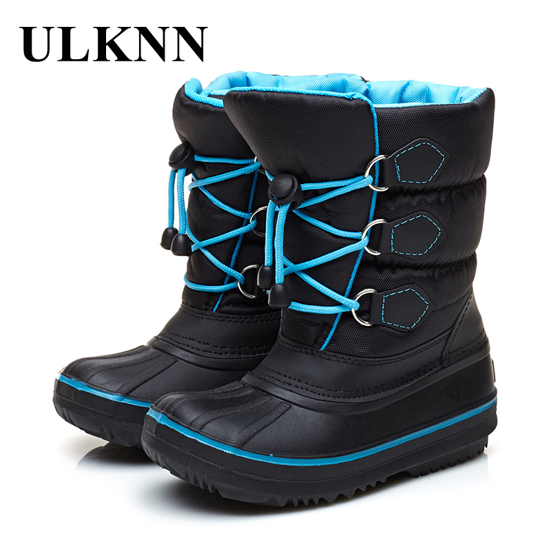 ULKNN Waterproof Snow Boots Kids Warm Rubber Shoes For Girls Boys Winter Boots Fur Plush Inside Flat with Solid Platform botas цена