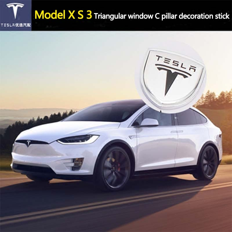 2pcs/set Car Logo Emblem Door Column Pillar Decoration 3D Quarter Window Sticker Styling Accessories for Tesla Model S Model X 3