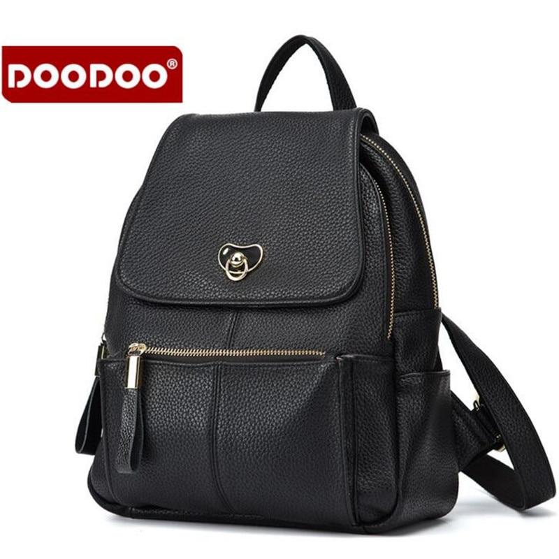 Doodoo New Joker Fashion Lady Genuine Leather Backpack European American Female Bag Luxury Brand Ladies' Bag Women Rucksack A42