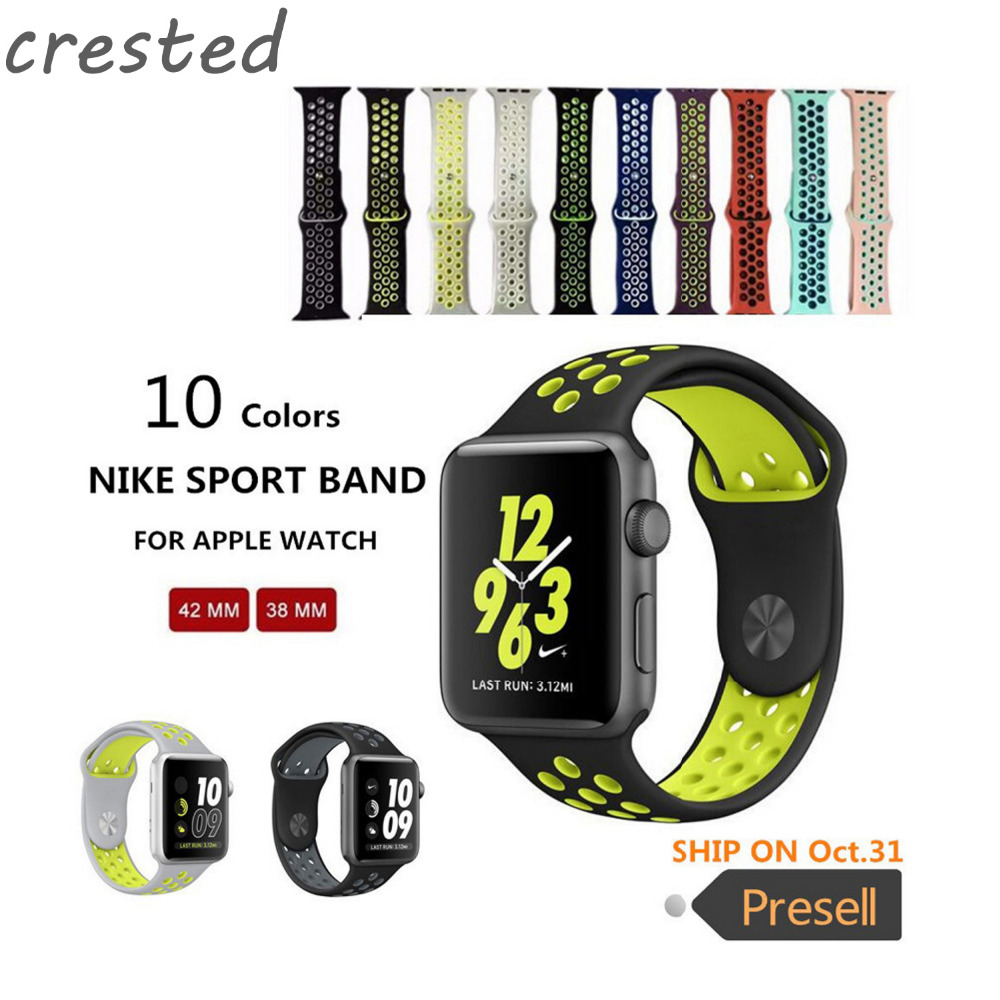 все цены на  CRESTED Original sports Silicone strap for iwatch 1 2 3 NIKE apple watch band 42mm men Rubber bracelet wrist With Adapter  онлайн