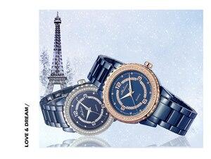 Image 2 - Fashion Lovers Blue Ceramic Watches Elegant Fashion Men Women Bracelet Wrist watch Crystals Quartz Relogios Montre Femme F8147