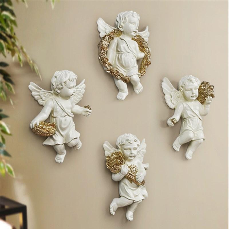 Bonita estatua de Ángel Cupid fondo de pared 3D escultura Mural decoración de pared para sala de estar decoración colgante 4 unids/set R144 - 5