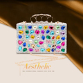 Rainbow Colorful Crystal Bag Women Luxury Rhinestone Wedding Handbag Bride Dinner Bag Girl Party Evening Bag Top Shinny