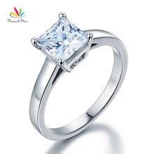 Павлин звезда Твердые стерлингового серебра 925 Помолвочное кольцо с бриллиантом 1,5 карат Принцесса создана Диаманте CFR8129
