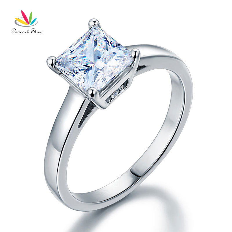 Peacock Star Solid 925 Sterling Silver Engagement Solitaire Ring 1.5 Carat Princess Created Diamante CFR8129