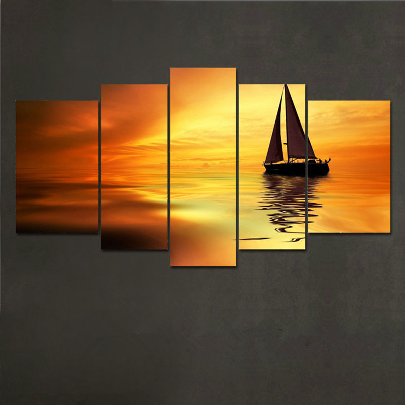 5 Piece Dusk Sailing Oil Painting Wall Art Picture Modern Home Decor ...