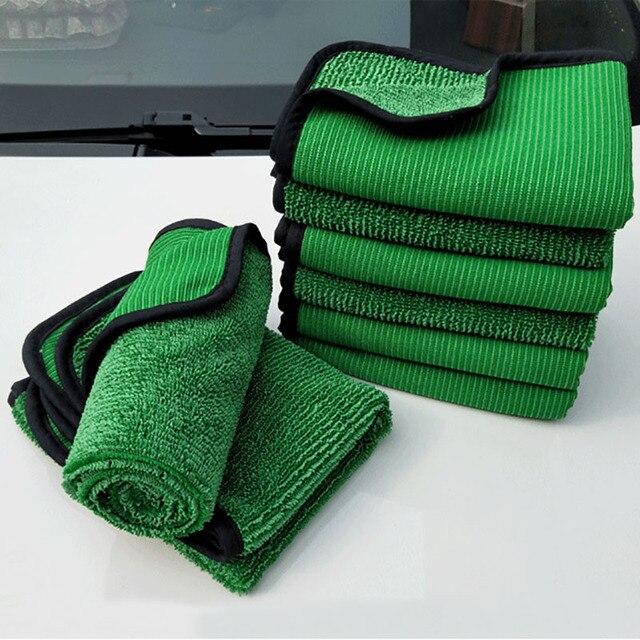 1psc 40*60 Verde Ferramenta de Lavagem Do Carro Toalha de Microfibra de Limpeza Do Carro Detalhamento Pano Seco Nunca Zero Cera Cuidado de Carro toalha