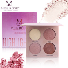 MISS ROSE Face Make Up 4 Colors Highlighter Palette Bronzers High Gloss Powder Concealer Palette Cosmetics rorec bronzers