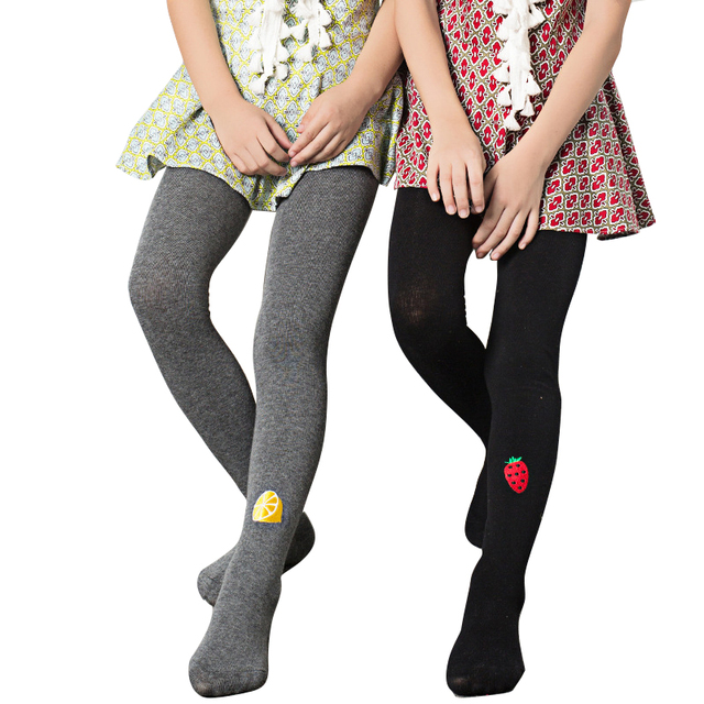 Candy Color Character Girls Stockings Warm Combed Cotton Toddler Autumn Fruit Pattern Embroidery Tights Collant Enfant