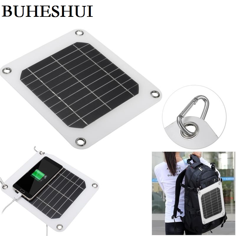 BUHESHUI 5W 5V Portable Solar Panel Charger Outdoor USB Digital Frame Style Solar Charger For iPhone Samsung Android 5V Device
