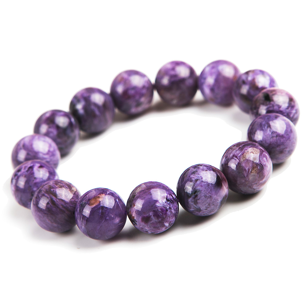 Top Quality Natural Purple Charoite Gemstone Women Men 14mm Round Beads Bracelet Jewelry Russian Healing Stone Fashion AAAAA