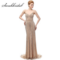 2017 New Luxury Dubai Spaghetti Straps Mermaid Evening Dresses Champagne Crystal Low Back Long Party Gowns