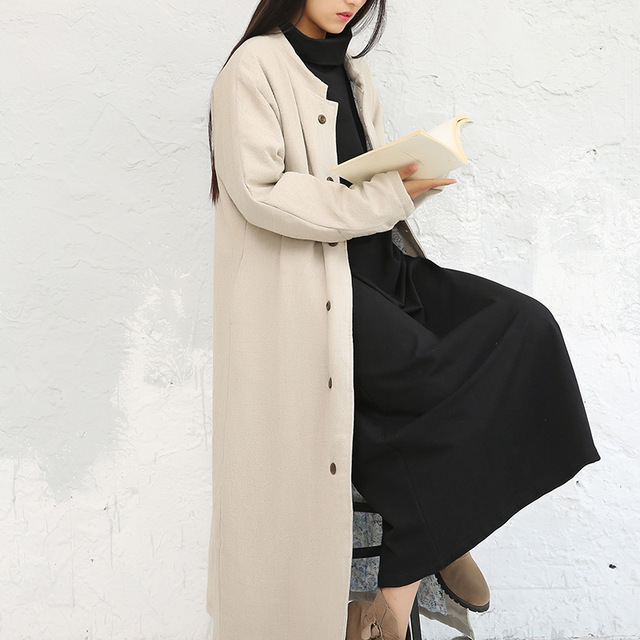 Women cotton Linen Autumn Winter Padded Trench Coat ladies Loose Single Breasted Solid Color Outerwear Female Overcoat