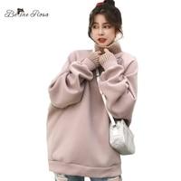 BelineRosa Korean Style Women Turtleneck Hoodies Sweet Pink Ladies Keep Warm Fleece Thicken Plus Size Women Clothing TYFS0021