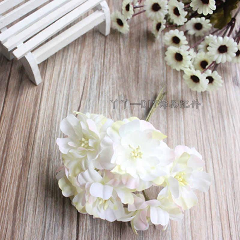 6 stk/partij De simulatie boeketten zijde bloem van DIY handgemaakte materialen groothandel krans Bridal hoofdtooi haaraccessoires