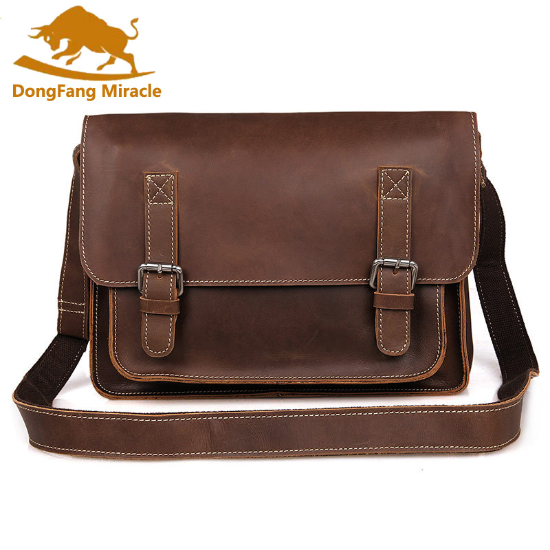 New Real Crazy Horse Leather Men Messenger bag vintage cross Body Bag Shoulder Business Briefcase 7089 freeshipping
