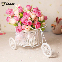 Rattan Tricycle Vase With Artificial Flower Silk Flower Set Home Decor Table Dinning Room Gift Wedding