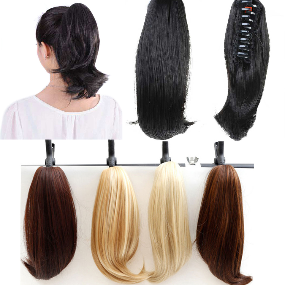DIFEI   Short Wavy Ponytail Hair Extensions Claw Ponytails Synthetic 14