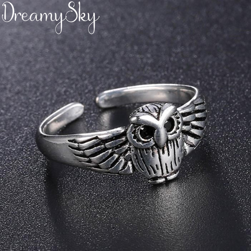 Owl-Rings Jewelry 925-Sterling-Silver Wedding-Statement Trendy Vintage Bohemian Women title=