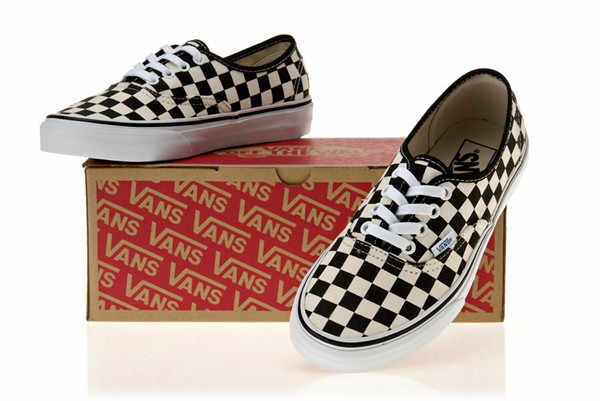 VANS Classic Men and Womens Sneakers Checkerboard lattice white black grid  tie canvas shoes 3a61f2fa5aec