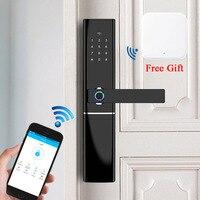 Умный дверной замок с идентификацией через отпечатки пальцев безопасности дома замок без ключа Wifi Пароль RFID карточный замок беспроводной п