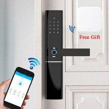 Inteligente cerradura de puerta huella dactilar de seguridad para hogar sin llave de bloqueo de contraseña Wifi RFID Bloqueo de tarjeta inalámbrica aplicación remota de Control de entrada libre