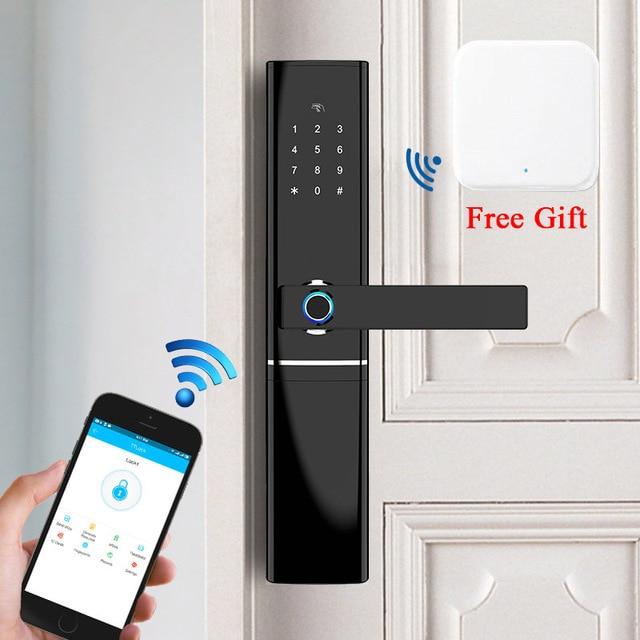 חכם דלת טביעת אצבע מנעול אבטחת בית Keyless נעילת Wifi סיסמא RFID כרטיס מנעול אלחוטי App שלט Gateway משלוח