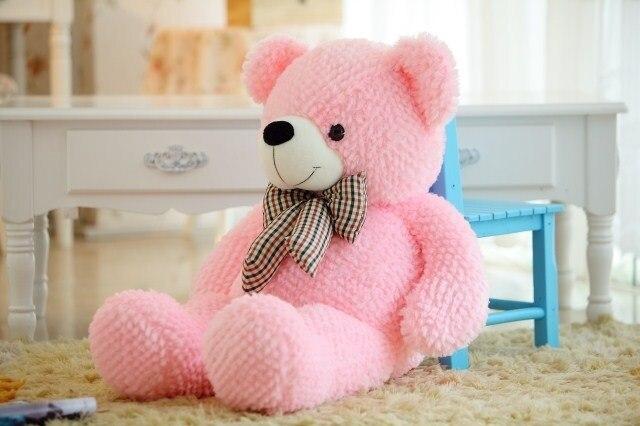 stuffed animal plush 120cm tie teddy bear plush toy pink teddy bear doll gift t6135