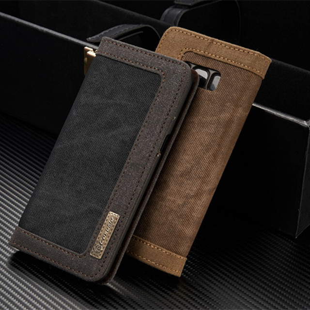 CaseMe For Samsung S8 Plus S9 Leather Magnetic Denim Canva Wallet Stand Phone Case For Samsung S9 S8 S7 S6 edge Note 9 Note 8