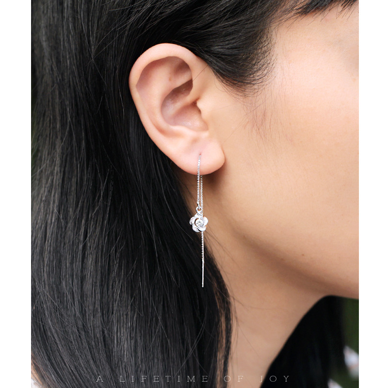 925 Sterling Silver Charms Pull Through Threader Earrings Flower Ear Daisy Long E152 In Drop From Jewelry