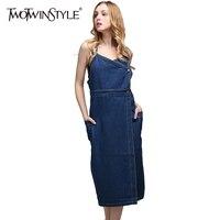 TWOTWINSTYLE 2016 New Denim Plus Size XL With Straps Women Dress Korean
