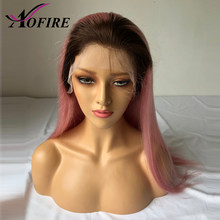 Pink Lace Front Wig Pre Plucked Brazilian Straight Remy Dark Roots Ombre Wig With Baby Hair For Black Women Bleached Knots(China)
