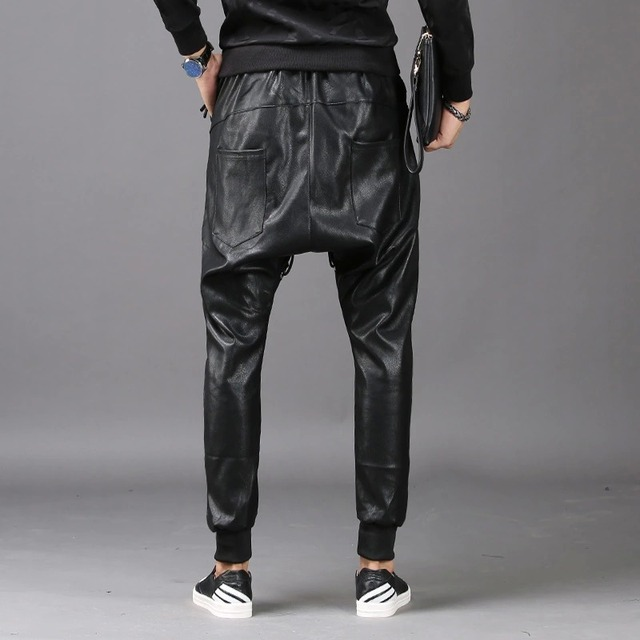 Men Fashion Joggers PU Faux Leather Harem Drop Crotch Pants Jeans Casual Street Dance Moto & Biker DJ Rock Rivets Slacks Trouser 5