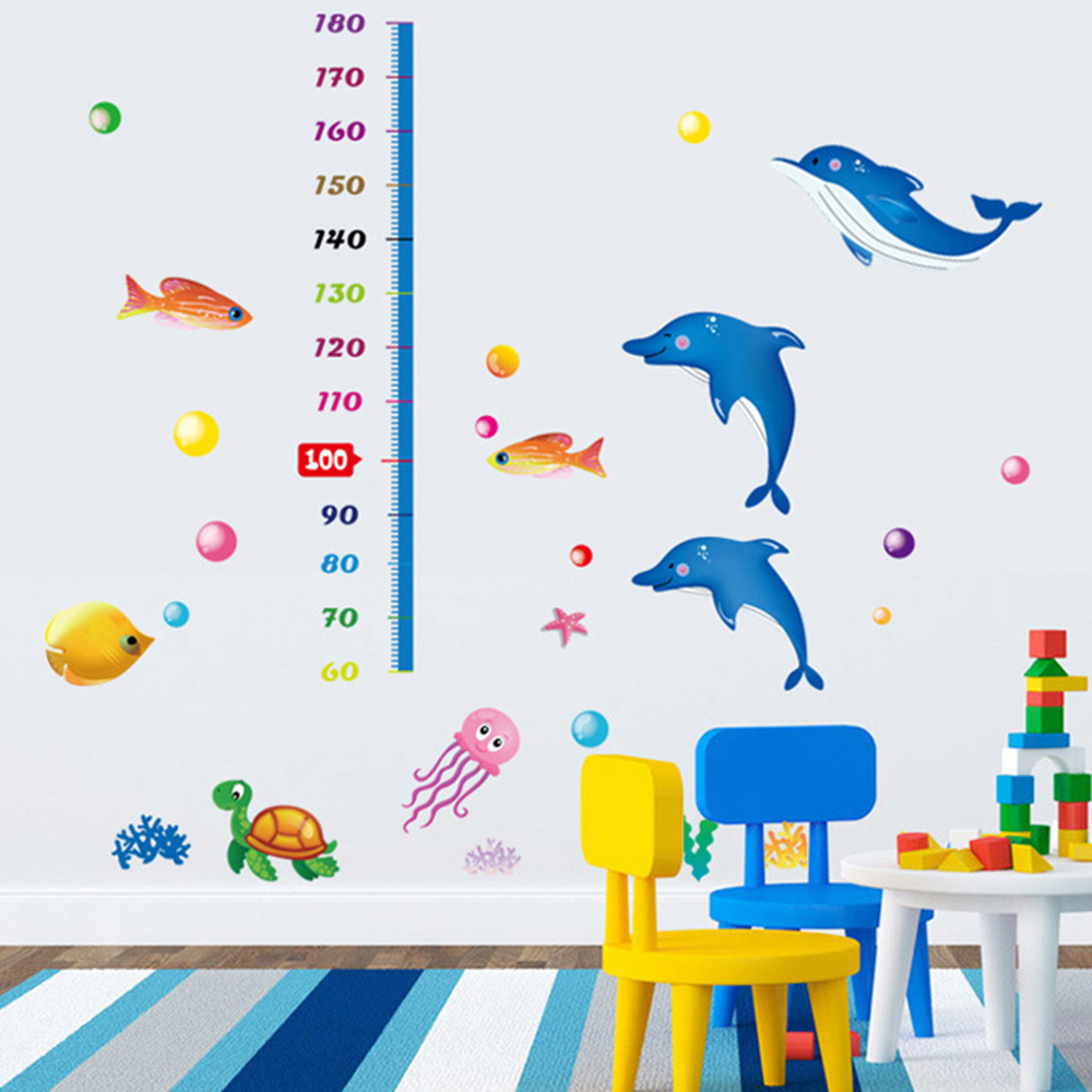 Online get cheap children39s removable wall decals aliexpress cartoon dolphin height stickers removable peel n stick wall decal childrens room wall sticker diy mural amipublicfo Gallery