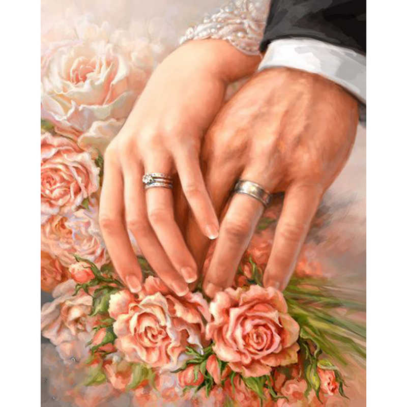 5D DIY Diamond embroidery rose,wedding ring picture,diamond painting Cross Stitch full square drill Rhinestone mosaic wall decor