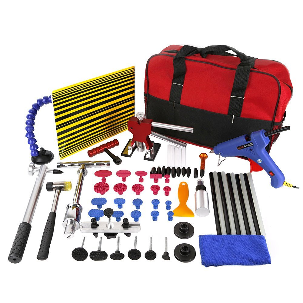 все цены на WHDZ 64pcs PDR Tool Dent Lifter Paintless Dent Hail Removal Repair Tools Glue PDR Tool Kit PDR Pro Tabs Tap Down Line Board